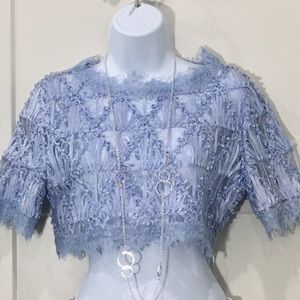 Luxxel corded lace drop top blue periwinkle medium